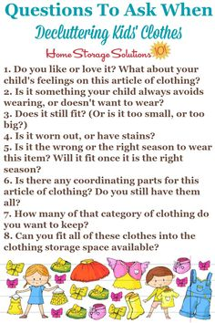 Questions to ask when decluttering kids' clothes {on Home Storage Solutions Kids Room Organization, Organization Hacks, Craft Projects For Kids, Diy Projects, Questions To Ask, This Or That Questions, Clutter Control, Home Storage Solutions, Organizing Your Home