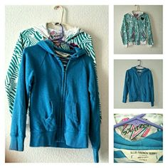 Two Hoodie Sweatshirts both $12 Previously loved sweatshirts, one with teal green, with magenta zippers on the pockets, front, and double heart appliques.  The second one is turquoise, heavy, lined, french terry from J. Crew, and is missing hood tie.  Both are juniors size medium. Good for everyday. J. Crew/Scrapbook Tops Sweatshirts & Hoodies