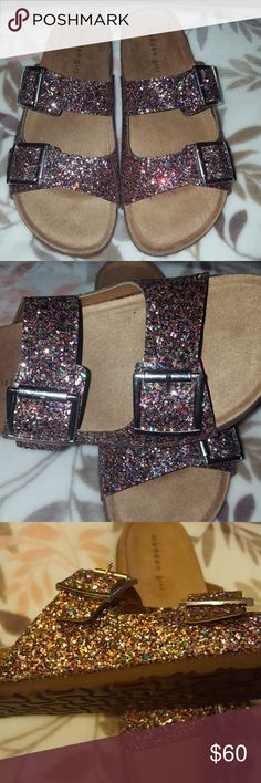 Madden Girl Glitter Birkenstock Madden Girl Glitter Birkenstock sandal. Confetti theme  glitter. The glitter has a rough feels to it. These are true to size. Every girl needs this in thier life!!! Madden Girl Shoes Sandals