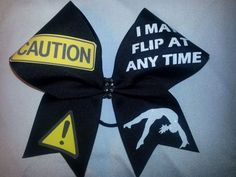 67532a24ffe76 Caution I May Flip at Any Time Cheer Bow BlingItOnCheerBowz BLACK grosgrain Big  Bows