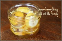 Honey-Lemon-Ginger Cold and Flu Remedy....if and when I get sick this Winter, I am ready!!