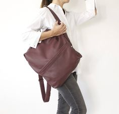 Excited to share the latest addition to my #etsy shop: Maroon Leather Backpack, Everyday Backpack, High End Backpack, Boho Chic Bags, High Fashion Bags, Unisex Handmade Backpack - Bordeaux Alex #backpack #backtoschool #everydaybackpack #highendbackpack #bohochicbags