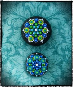 Jewel Drop Mandala Painted Stone Swimmin in the by ElspethMcLean