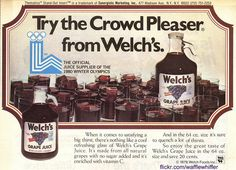 Here's a delicious ad for Welch's Grape Juice from March They were sponsoring the Lake Placid Winter Olympic Games. Welch Juice, Welch Grape Juice, Winter Olympic Games, Winter Olympics, Non Alcoholic Drinks, Beverages, Vintage Scrapbook, Vintage Ads, Glass Bottles