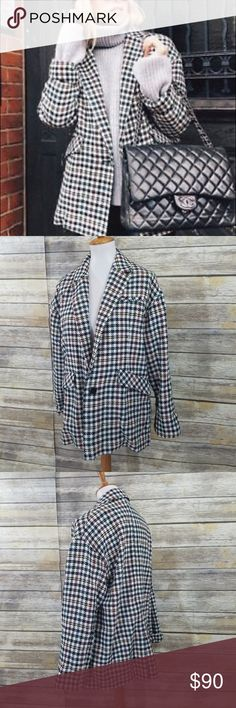 a2a535f4 NWT Zara Colorful Checked Houndstooth Blazer Coat Houndstooth checked blazer  with red, yellow, and