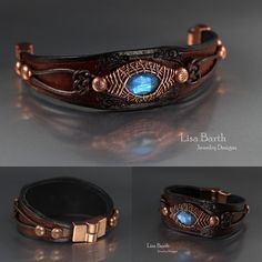 Hand made woven bezel in copper for this beautiful labradorite cab.  I also hand cut, tooled and dyed the leather bracelet for it. - Lisa Barth