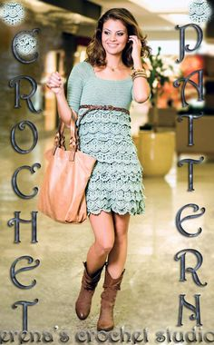 Summer Green Ruffles Dress Crochet Pattern with a lot Charts and Written Instruction on the every part.Only  in PDF files Etsy Store Shout Out!  Totally Cute!