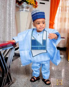 Little kid rocking agbada blue color African Wear Styles For Men, African Shirts, Latest African Fashion Dresses, African Men Fashion, African Dresses For Women, African Attire, Kids Fashion, Man Fashion, Luxury Fashion