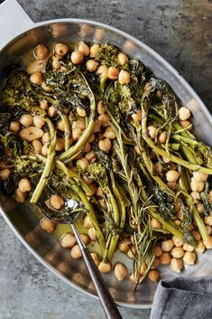 Olive Oil-Braised Chickpeas and Broccoli Rabe Recipe - NYT Cooking Vegetable Dishes, Vegetable Recipes, Broccoli Rabe Recipe, Vegan Recipes, Cooking Recipes, Easy Recipes, Vegetarian Entrees, Canned Chickpeas, Vegan Dishes