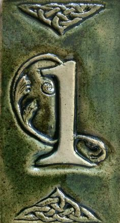 Celtic ceramic house numbers in moss green. by CelticValleyCeramics on Etsy