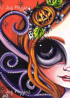 ORIGINAL PAINTING Halloween Fairy Canvas Deco Cute Gothic Girl by Jaz Higgins