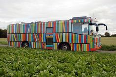 Image: Library Bus Courtesy Peter Callesen-- Callesen has created a striking skin for this Danish Bookmobile. The Bookmobile is a commission of the Danish Art Council and spreads library goodness to remote townships in the southern part of Denmark. Little Free Libraries, Little Library, Dream Library, Local Library, County Library, Library Books, Peter Callesen, Book Boat, Mobile Library