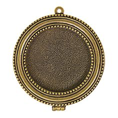 Antique Gold Plated Pewter Small Beaded Bezel Locket by Nunn Design | Fusion Beads