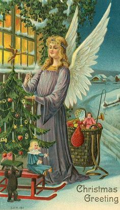 Vintage Christmas Post Card, Angel with Christmas Tree and Toys Series 191 Frohliche Weihnachten Merry Christmas, Christmas Angels, Christmas Greetings, German Christmas, Xmas, Vintage Christmas Images, Victorian Christmas, Vintage Greeting Cards, Vintage Postcards