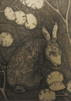 The Woodcat by Hester Cox (UK) Collagraph, edition size x Art And Illustration, Collagraph Printmaking, Rabbit Art, Bunny Art, Wildlife Art, Gravure, Art Techniques, Making Ideas, Moose Art