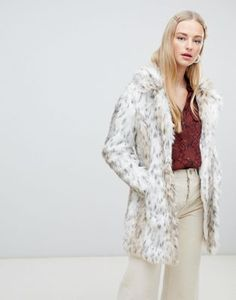 2b947d87dee18 New Look | New Look faux fur coat in white pattern Asos, Coats For Women