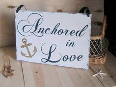Wedding Sign Double Sided Anchored in Love & by BeachandBungalow