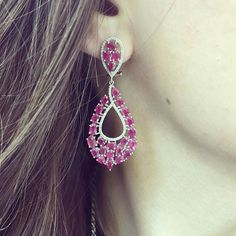 Stunning ruby and diamond drop earrings! Classy with a twist! Also available in sapphire and diamonds.  #ruby #sapphire #diamonds #earrings #drop #gorgeousgirl http://ift.tt/1IQehsz