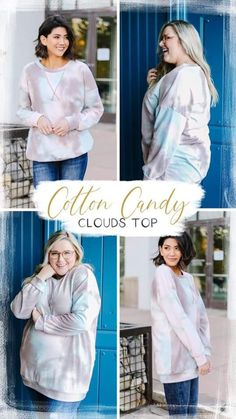 Reg and Plus size Cotton Candy Clouds, Trendy Online Boutiques, Circular Pattern, White T, Clothing Items, Best Sellers, Trendy Fashion, Light Blue, Denim Shorts