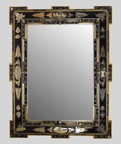 Pair of Italian Venetian Murano (19th Cent) vertical wall mirrors with etched scene of figures in landscape and trimmed with floral colored glass flowers
