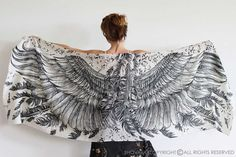 Wings scarf bohemian bird feathers shawl white hand by Shovava
