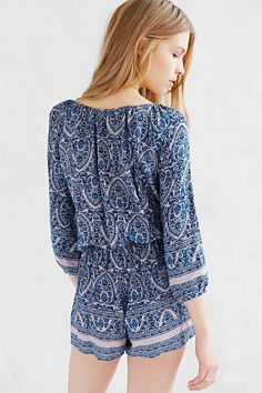 COPE Flowy Button-Front Romper - Urban Outfitters