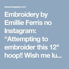 """Embroidery by Emillie Ferris no Instagram: """"Attempting to embroider this 12"""" hoop!! Wish me luck! #embroidery #hoopart #handembroidery"""""""