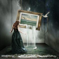 Like the painting scene in Voyage of the Dawn Treader. (The Painting Fantasy by Vershiedene. Art Sombre, Arte Fashion, Inspiration Artistique, Fantasy Kunst, Surreal Artwork, Fantasy Artwork, Dark Artwork, Photoshop, Illustration Art