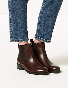 Shop this Leather Chelsea Ankle Boots at Marks & Spencer. Browse more styles at Marks & Spencer US Block Heel Ankle Boots, Leather Ankle Boots, Block Heels, Heeled Boots, Shoe Boots, Chelsea Ankle Boots, Shoe Storage, Winter Fashion, Footwear