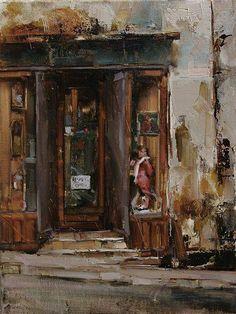 Tibor Nagy - Work Zoom: Old Acquaintance Building Painting, Building Art, Fashion Painting, Urban Landscape, Beautiful Paintings, Urban Art, Art Oil, Painting Inspiration, Landscape Paintings