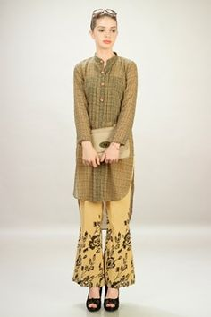 Kurtis,La Isla Bonita,Beige Georgette Printed Top With Printed Pant