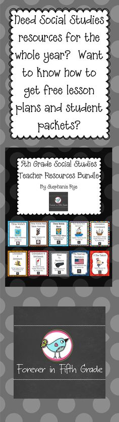 Social Studies resources for the whole year and the opportunity for free lesson plans and student packets! $