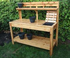 Cedar potting bench with soil tray ~ $425 Customraisedgardens on Etsy