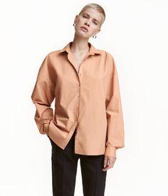Wide-cut Cotton Shirt   Beige   Ladies   H&M US