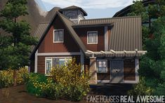 Fake Houses | Real Awesome Cottages And Bungalows, Wood Patterns, Sims 3, Shed, Stairs, Outdoor Structures, Windows, Houses, Awesome