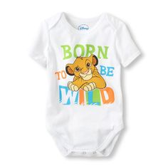 Lion King bodysuit....this is adorable because of his bedding & he already has a Simba stuffed animal. Awww
