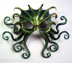 Large Cthulhu mask, green, gold, and midnight blue by shmeeden on DeviantArt