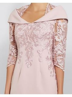 Sheath / Column Queen Anne Knee Length Polyester Half Sleeve Plus Size / See Through / Elegant Godmother Dress with Sequin 2020 2020 – € Mother Of The Bride Dresses Long, Mother Of Bride Outfits, Estilo Fashion, Ideias Fashion, Godmother Dress, Wedding Outfits For Women, Tuxedo Dress, Half Sleeves, Elegant Dresses
