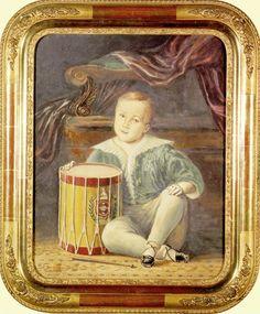 ARMAND JULIEN PALLIÈRE  (1784-1862)  DOM PEDRO II, MENINO    Guache sobre papel  Assinado  Cerca de 1830  0,450 x 0,390 m    O herdeiro do trono do Brasil, tendo aproximadamente quatro anos de idade, é retratado brincando com um tambor de regimento. Como pano de fundo, o artista retratou parte do trono imperial, identificando o futuro da criança.