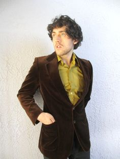 70s Vintage Men's Yves St Laurent Brown Velvet Jacket 42