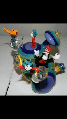 Cat in the Hat themed functional glass vapor rig all done by Bob the Glass Blower (BTGB)