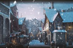 hogsmeade villiage in the snow <3