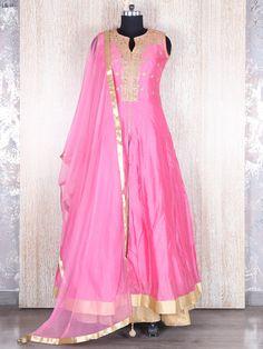 Pink Beige Silk Indo Western Style Salwar Suit