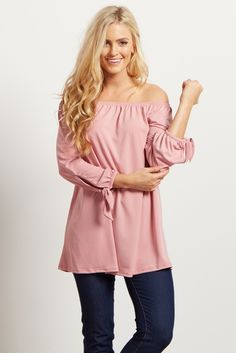 Mauve-Solid-Off-The-Shoulder-Tie-Sleeve-Top