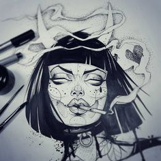 sneak peek of something new // – Art Sketches Dark Art Drawings, Art Drawings Sketches, Tattoo Drawings, Tattoo Sketches, Art And Illustration, Dope Kunst, Desenho Tattoo, Arte Horror, Dope Art