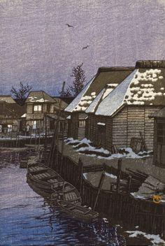 Kawase Hasui, Lingering Snow in Urayasu