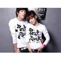 $12.40 Fashionable Round Neckline Letter Pattern Long Sleeves Cotton Couple T-Shirt For Lovers