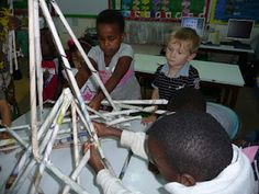 Newspaper sculpture - roll the pages to make tubes and let the children put the tubes together