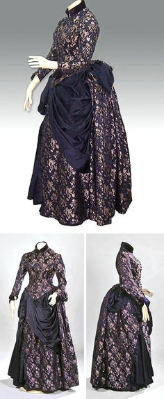 Dress ca. 1885. Silk brocade in purple and lilac