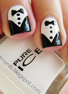 prom nails ideas - pin now, paint later! You could even paint the bow tie to match your dress!